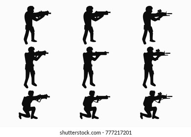 Laser tag players set illustration of a flat vector, sit and stand, shoot from weapons, black silhouettes on white background, set for design and decoration