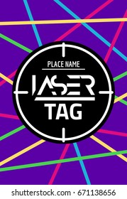 Laser tag target game poster flyer. Vector lasertag banner for fun party. Neon Aim shot poster.