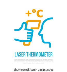 Laser thermometer for detection fever. Thin line icon. Hand holding thermometer near human face. Scan for coronavirus symptom. Healthcare and medical equipment. Vector illustration.