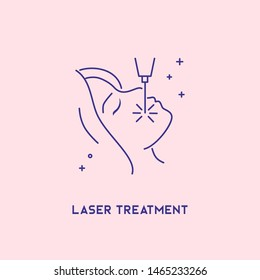 Laser treatment icon. Cosmetology concept. Facial laser hair removal, depilation.