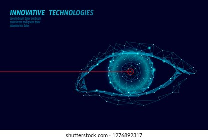 Laser vision correction 3D medical concept. Abstract human iris modern operation surgery technology low poly. Triangles polygonal rendering shape biometric identity vector illustration