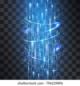 Laser wind stream through funnel light blue neon effect. Vector glowing swirling cold vortex cylinder of shining stardust sparkles on transparent background. Glittering magical brilliant flashes.