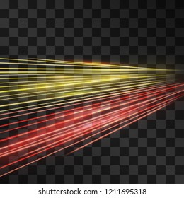 Laser yellow and red glow vector speed flash. Motion effect light road flow on transparent background. Light energy stream for modern hi-tech design. Power neon flow of moving particles trace.