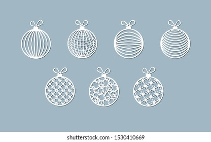 Lasercut ball toy modern pattern of lines stripes Christmas theme Design element of a lasercut Christmas toys balls for laser cutting New Year greeting card Stencil for laser cutting Isolated Vector