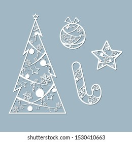 Lasercut Christmas tree ball candy toy star Christmas theme Set Design element of a lasercut lace Christmas toys for laser cutting New Year greeting card Stencil for laser cutting Isolated Vector