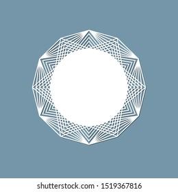 Lasercut lace doily design Round pattern ornament Template mockup of a round white lace doily napkin lasercut frame Design element for lasercut elegant vintage invitation banner Vector lacе doily