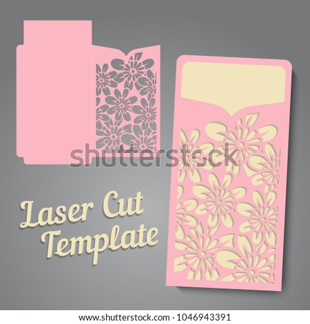 lasercut vector wedding invitation template wedding stock vector