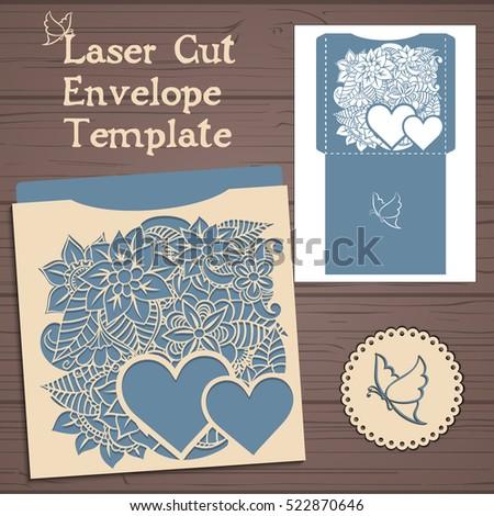 Lasercut Vector Wedding Invitation Template Wedding Stock Vector