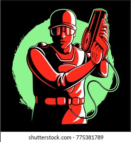 Lasertag player, man with the ammunition and laser tag gun, vector image.
