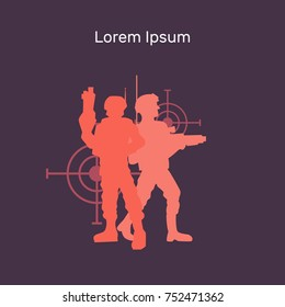 Lasertag vector flat banner illustration, layout for design, red, blue, silhouettes of soldiers, two players stand on targets background, targets