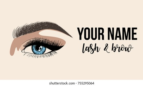 Lash & Brow business card or logo template. Business card with woman eye logo. Beautiful fashion open eye application with eyelash and eyebrow template. Vector illustration on a beige background.