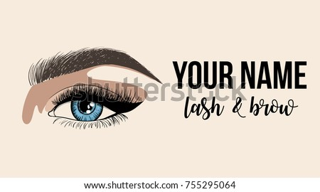 lash brow business card or logo template business card with woman eye logo - Eyelash Business Cards