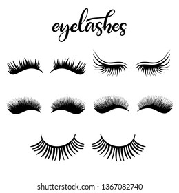 Lashes icon set with lettering vector illustration for beauty salon, fashion blog, logo, false eyelashes extensions maker, professional makeup artist. Different shapes and styles of lashes. EPS10