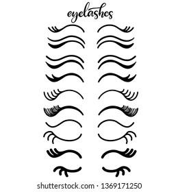 Lashes lettering vector illustration for beauty salon, fashion blog, logo, false eyelashes extensions maker, brow master, professional makeup artist. Icon set of eyelashes. EPS10