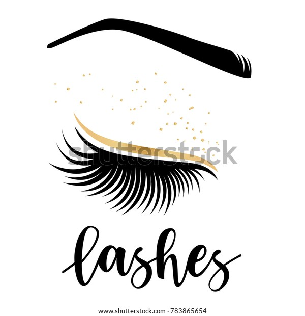 aaf6c0434ab Lashes lettering. Vector illustration of lashes. For beauty salon, lash  extensions maker,