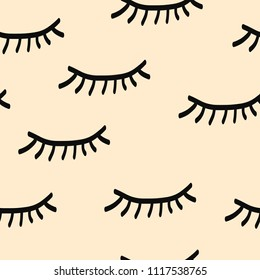 Lashes seamless pattern