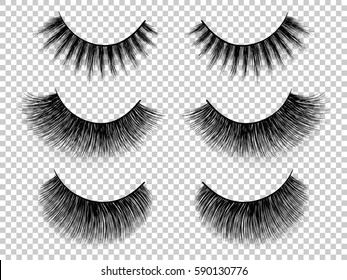 Lashes set. False eyelashes collection. Woman beauty product vector. False lashes realistic. Hand drawn female eyelashes. Trendy fashion illustration for mascara pack or beauty products design.