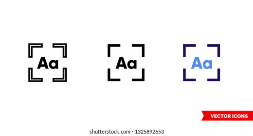 Lasso OCR icon of 3 types: color, black and white, outline. Isolated vector sign symbol.
