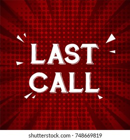 last call greeting card with red retro design