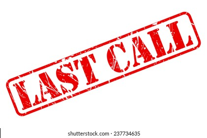 Last call red stamp text on white