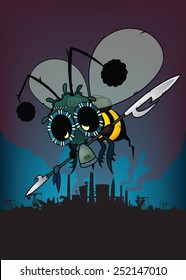 The last honey bee.futuristic fantasy illustration. armed bee with gas mask .apocalyptic industrial city silhouettes in background