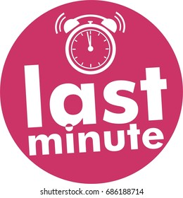 last minute button with clock alarm countdown, pink flat