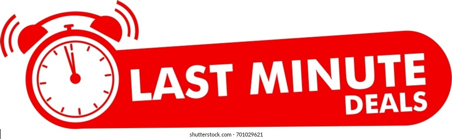 last minute deals button, flat label, alarm clock countdown logo, red sign