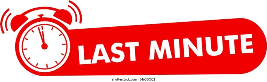 Last minute label red clock icon, vector, symbol