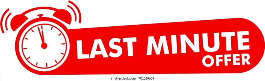 last minute offer button, flat label, alarm clock countdown logo, red sign