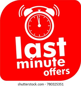 last minute offers label, button, red icon, alarm clock, countdown symbol
