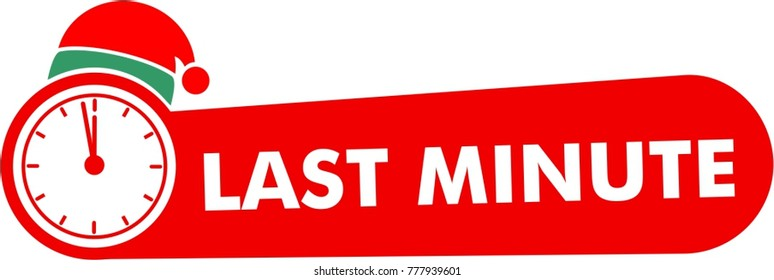 last minute text icon with alarm clock symbol and red hat santa claus sign, flat