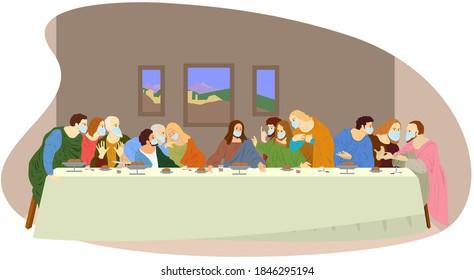 Last supper while covid lockdown. Il Cenacolo covid in campania. Old men wear medical mask to prevent coronavirus (covid-19). Colour drawing, vector illustration.