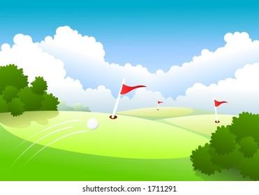Last three holes, golf-ball flying towards the green.