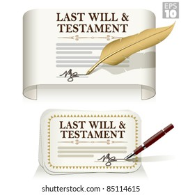 Last will and testament document signed with a pen or feather