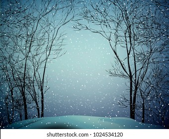 last winter snow, snowy weather in the winter forest, vector