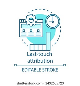 Last-touch attribution blue concept icon. Marketing channel analysis idea thin line illustration. Attribution modeling type. Traffic and conversions.. Vector isolated outline drawing. Editable stroke