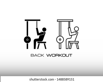 Lat Pulldown Icon Set. Consist Two Variation of Back Workout for Bigger and Muscular Back of Body in Gym or Fitness Center. In Trendy Flat Isolated on White Background.
