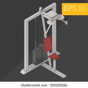 lat pulldown workout machine eps10 vector illustration
