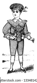 Late 19th Century Boy's Outfit is designed with a ruffled shirt, vintage line drawing or engraving illustration.