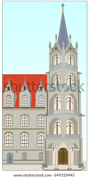 Late Gothic castle building with a massive tower