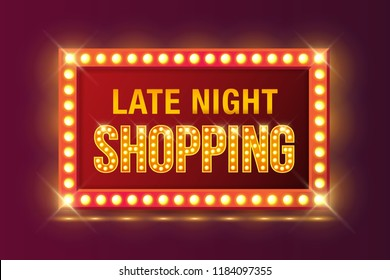 Late Night Shopping sign in Retro neon glowing frame. Vector illustration for promotion discount sale advertising