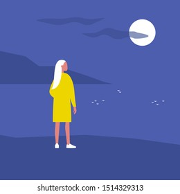 Late night walk. Nature. Moonlight. Travel. Solitude. Flat editable vector illustration, clip art. Young female character looking at water