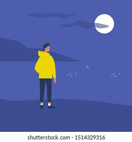 Late night walk. Nature. Moonlight. Travel. Solitude. Flat editable vector illustration, clip art. Young male character looking at water