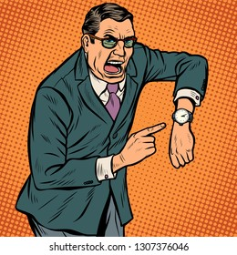 late points to watch. angry face. Pop art retro vector illustration kitsch vintage