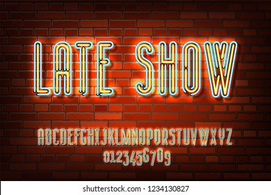 Late show neon sign lamp font design on the old red brick wall background, alphabet, character set, typeface, typography, Electricity light retro letters. Vector illustration