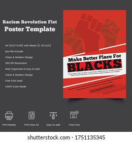 Latest Freedom From Black Racism Revolution protest Fist Creative print Poster Template design