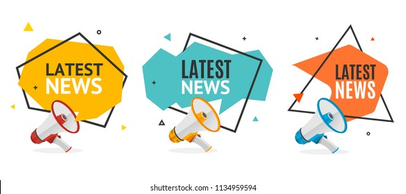 Latest News Banner Abstract Design Set with Geometric Origami Bubble Speech and Realistic 3d Detailed Megaphone. Vector illustration