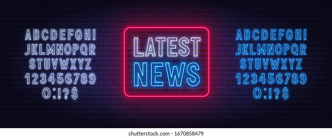 Latest news neon sign on brick wall background.
