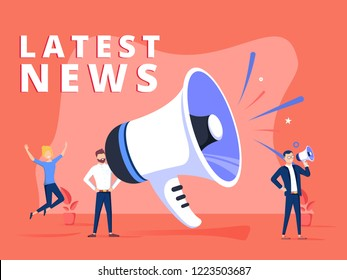 Latest news vector illustration concept, people shout on megaphone with Latest News word, can use for landing page, template, ui web, mobile app poster, banner flyer. Creative Blogging illustration
