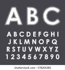 Latin alphabet. Capital letters and numbers with  halftone effect